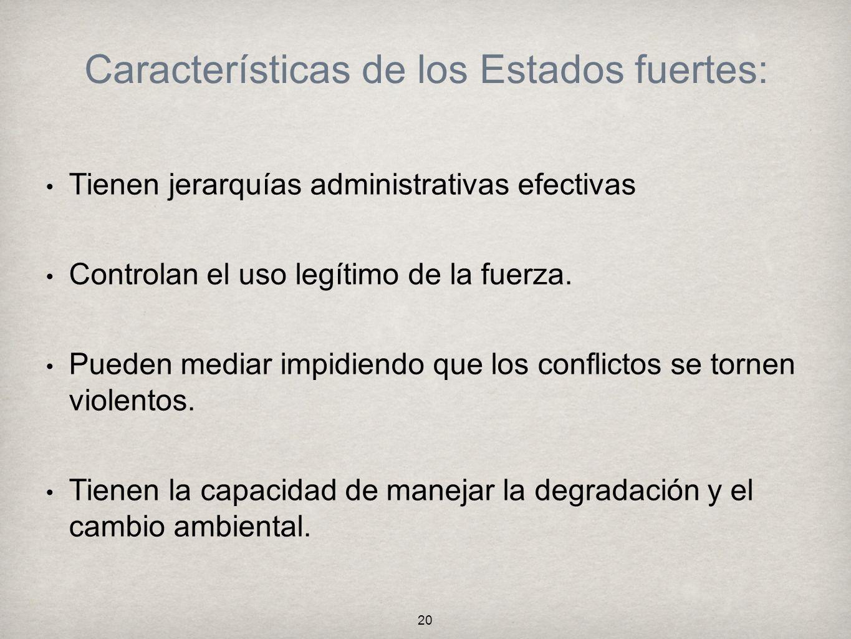 Características de los Estados fuertes: