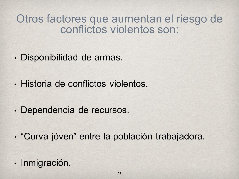 Otros factores que aumentan el riesgo de conflictos violentos son: