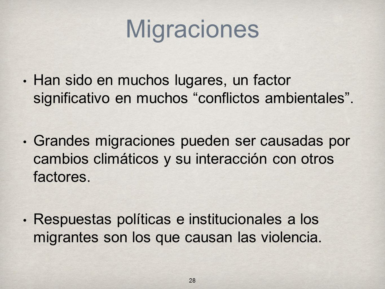 MigracionesHan sido en muchos lugares, un factor significativo en muchos conflictos ambientales .