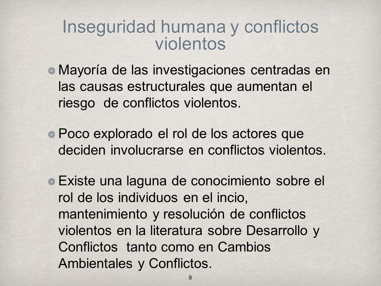Inseguridad humana y conflictos violentos