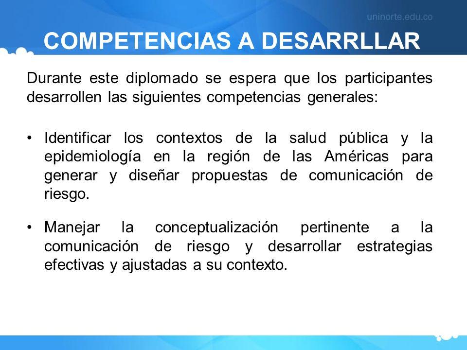 COMPETENCIAS A DESARRLLAR