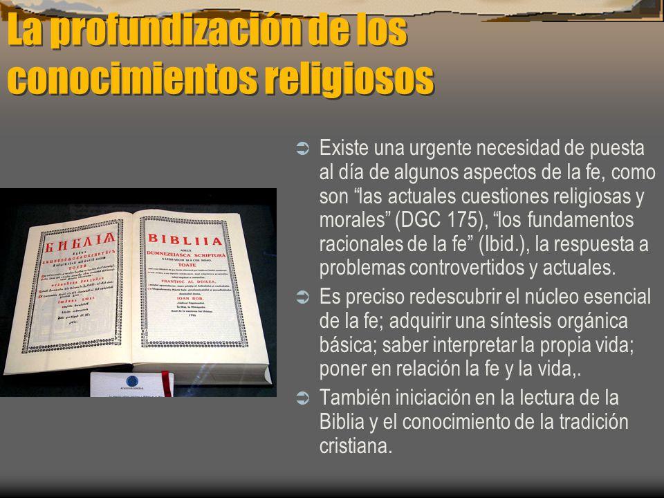 La profundización de los conocimientos religiosos
