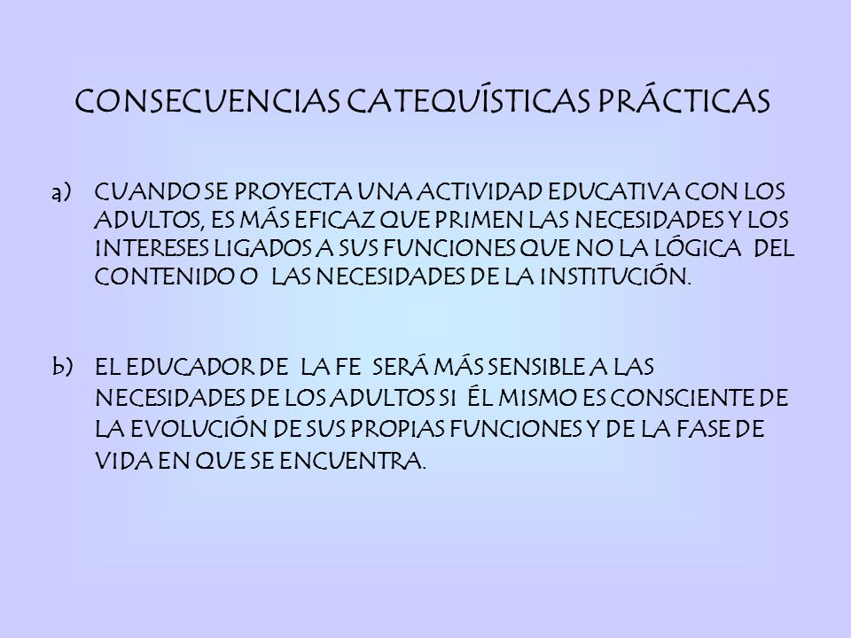CONSECUENCIAS CATEQUÍSTICAS PRÁCTICAS