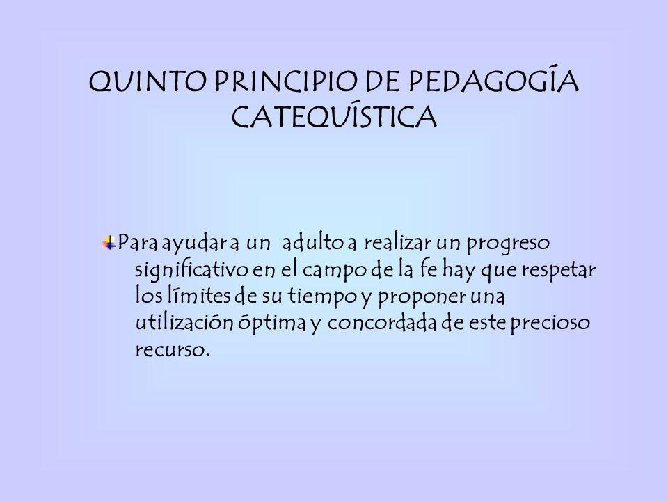 QUINTO PRINCIPIO DE PEDAGOGÍA CATEQUÍSTICA