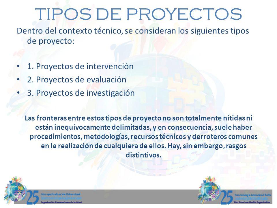 TIPOS DE PROYECTOS Dentro del contexto técnico, se consideran los siguientes tipos de proyecto: 1. Proyectos de intervención.