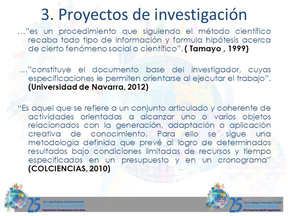 3. Proyectos de investigación