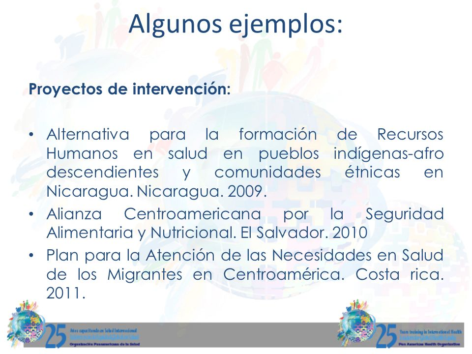Algunos ejemplos: Proyectos de intervención: