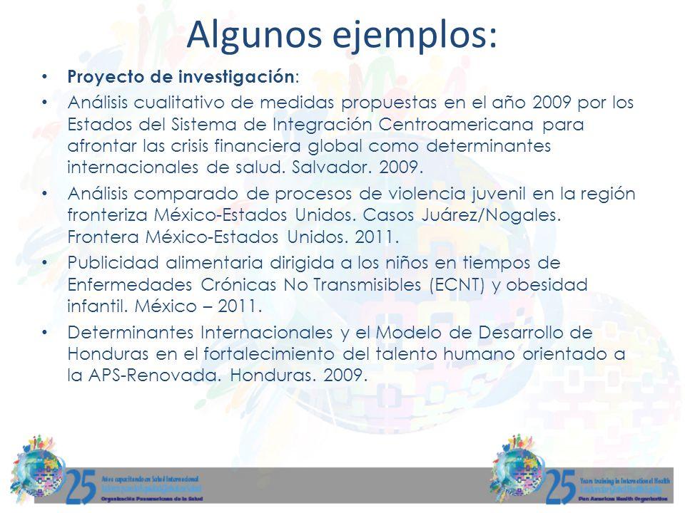 Algunos ejemplos: Proyecto de investigación: