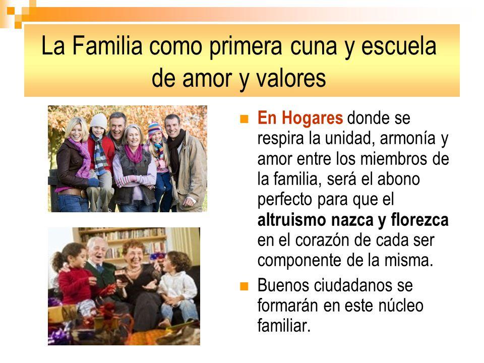 La Familia como primera cuna y escuela de amor y valores