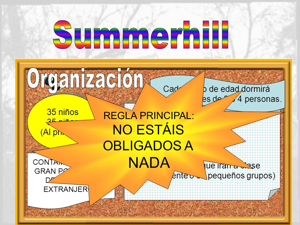 Summerhill Organización NADA NO ESTÁIS OBLIGADOS A REGLA PRINCIPAL: