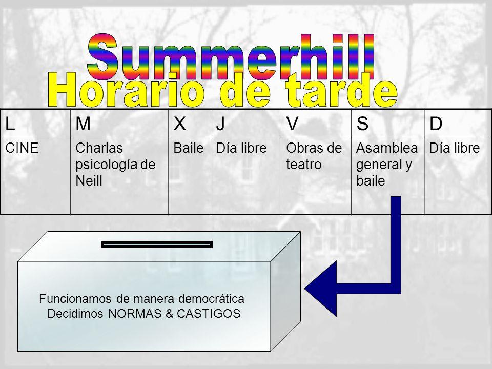 Summerhill Horario de tarde L M X J V S D CINE