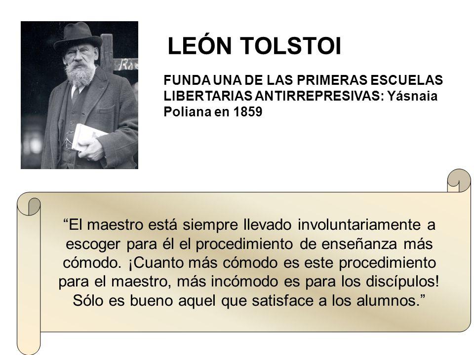 LEÓN TOLSTOI FUNDA UNA DE LAS PRIMERAS ESCUELAS LIBERTARIAS ANTIRREPRESIVAS: Yásnaia Poliana en 1859.