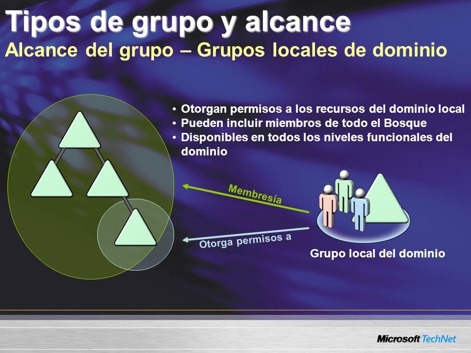 Tipos de grupo y alcance Alcance del grupo – Grupos locales de dominio