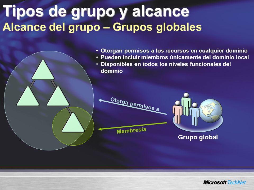 Tipos de grupo y alcance Alcance del grupo – Grupos globales