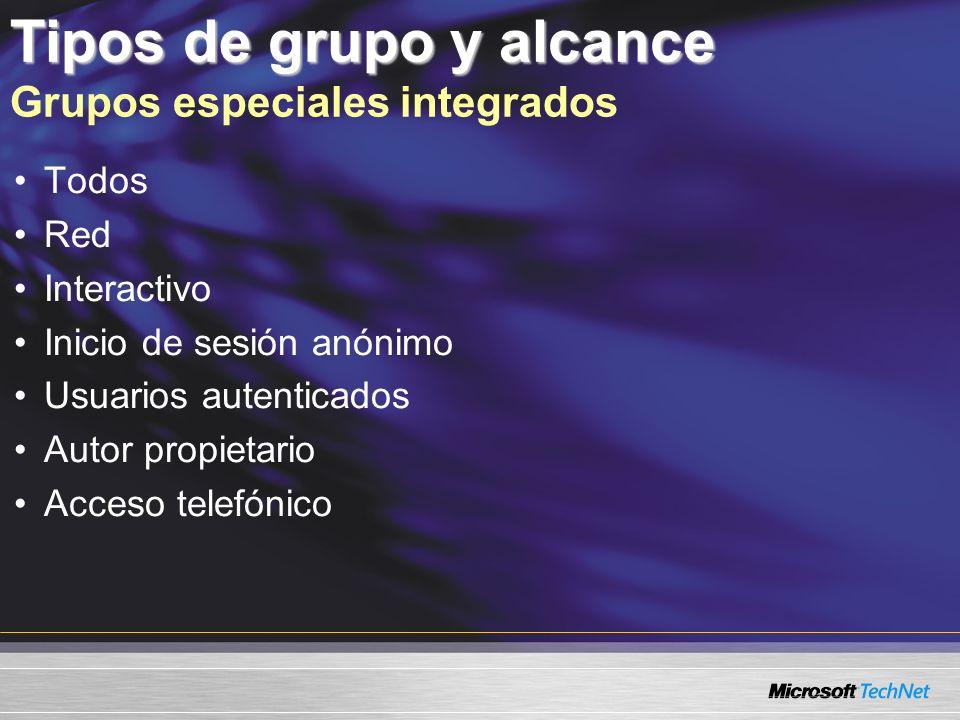 Tipos de grupo y alcance Grupos especiales integrados