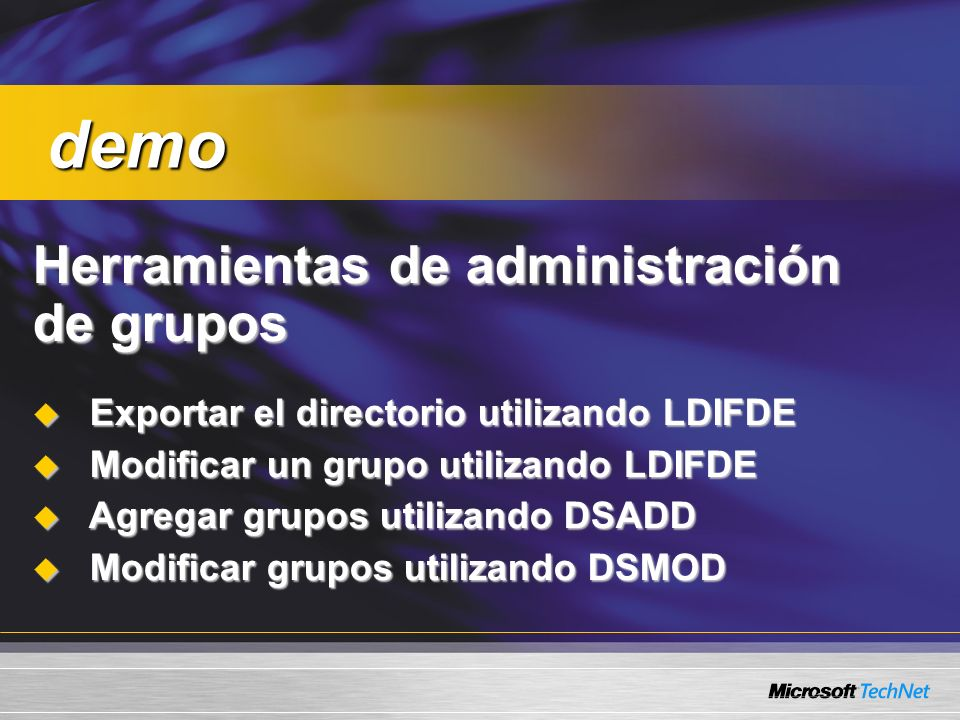 demo Herramientas de administración de grupos