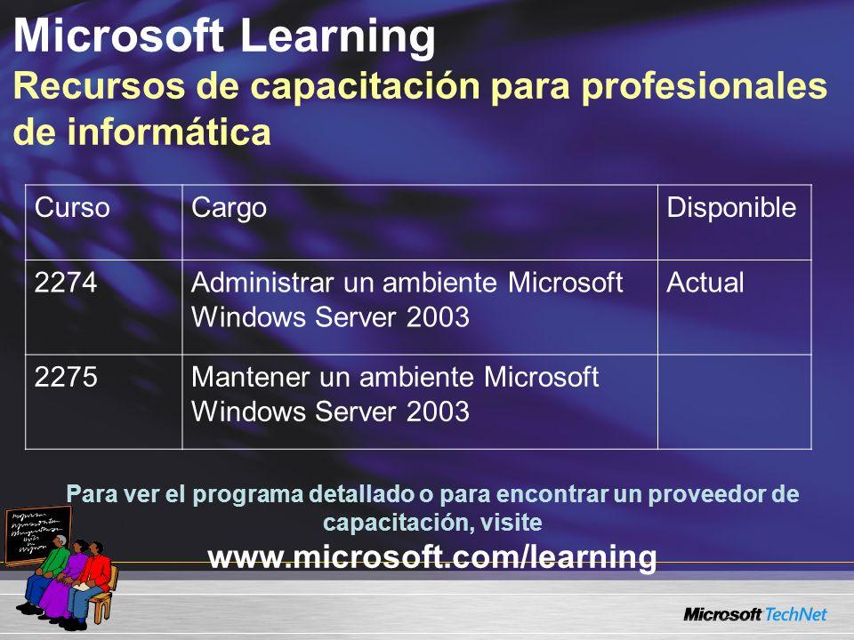 Microsoft Learning Recursos de capacitación para profesionales de informática