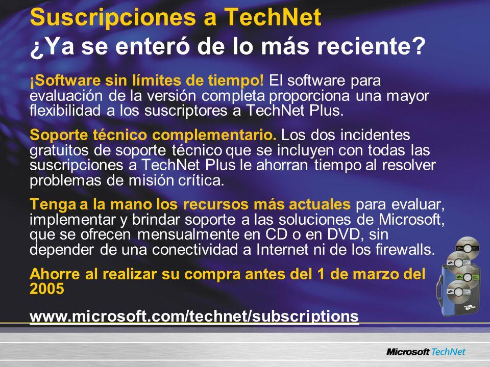 Suscripciones a TechNet ¿Ya se enteró de lo más reciente