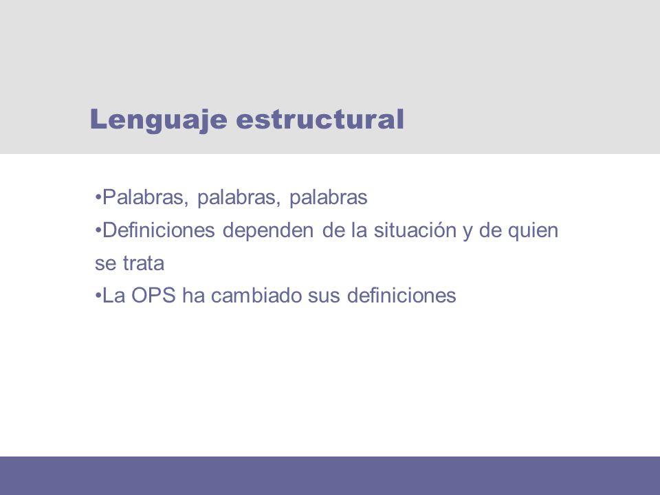 Lenguaje estructural Palabras, palabras, palabras