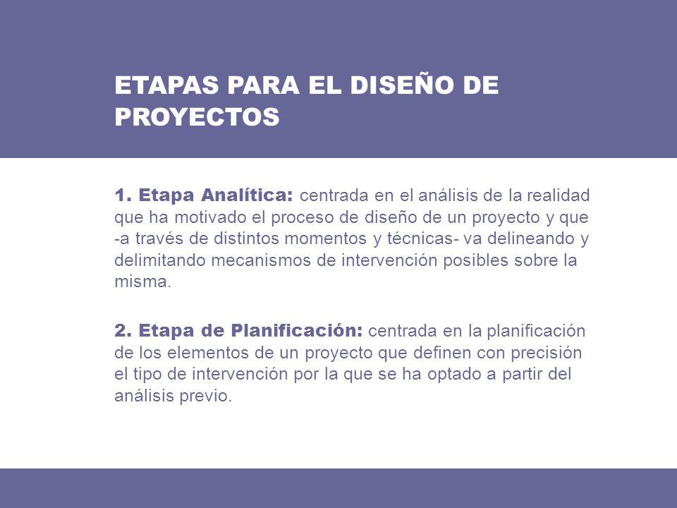 ETAPAS PARA EL DISEÑO DE PROYECTOS