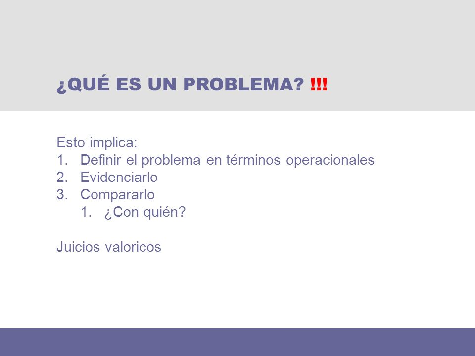 ¿QUÉ ES UN PROBLEMA !!! Esto implica: