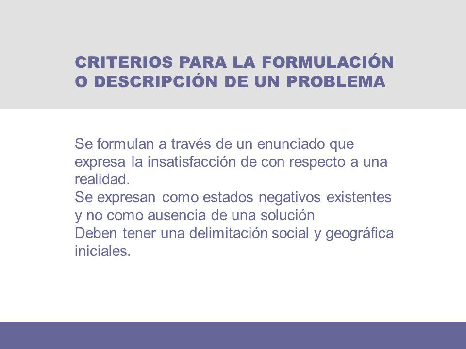 CRITERIOS PARA LA FORMULACIÓN O DESCRIPCIÓN DE UN PROBLEMA
