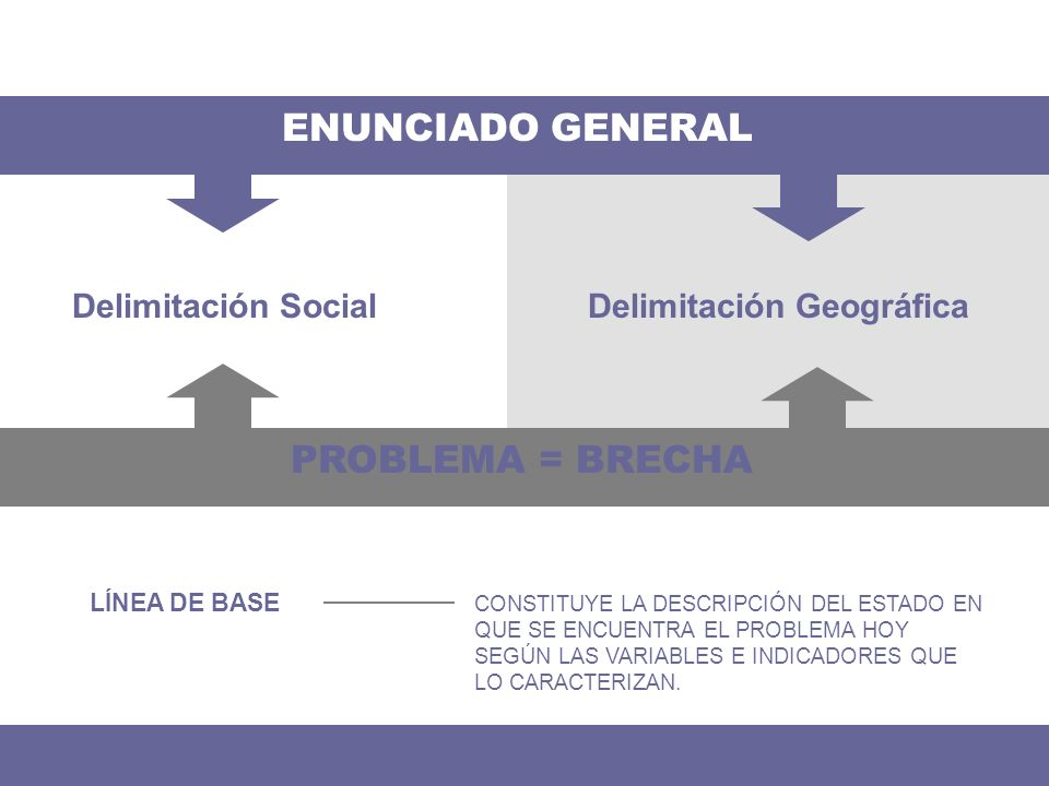 ENUNCIADO GENERAL PROBLEMA = BRECHA Delimitación Social