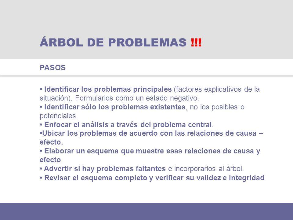 ÁRBOL DE PROBLEMAS !!! PASOS