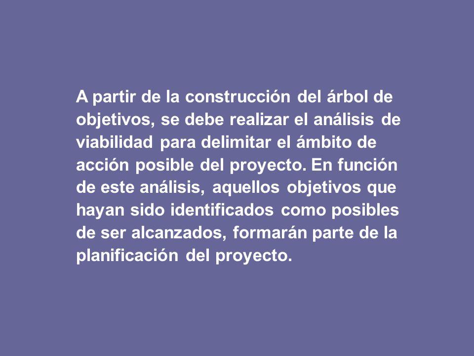 A partir de la construcción del árbol de objetivos, se debe realizar el análisis de viabilidad para delimitar el ámbito de acción posible del proyecto. En función de este análisis, aquellos objetivos que hayan sido identificados como posibles de ser alcanzados, formarán parte de la planificación del proyecto.