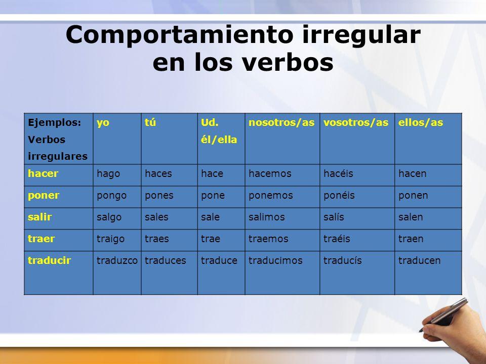 Comportamiento irregular en los verbos