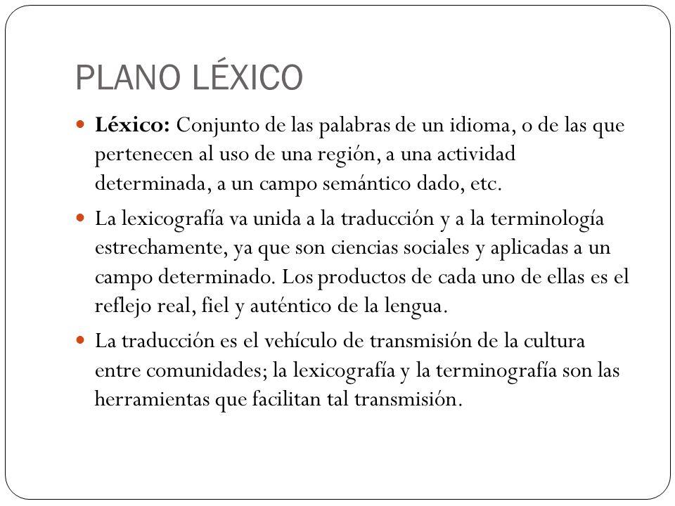 PLANO LÉXICO