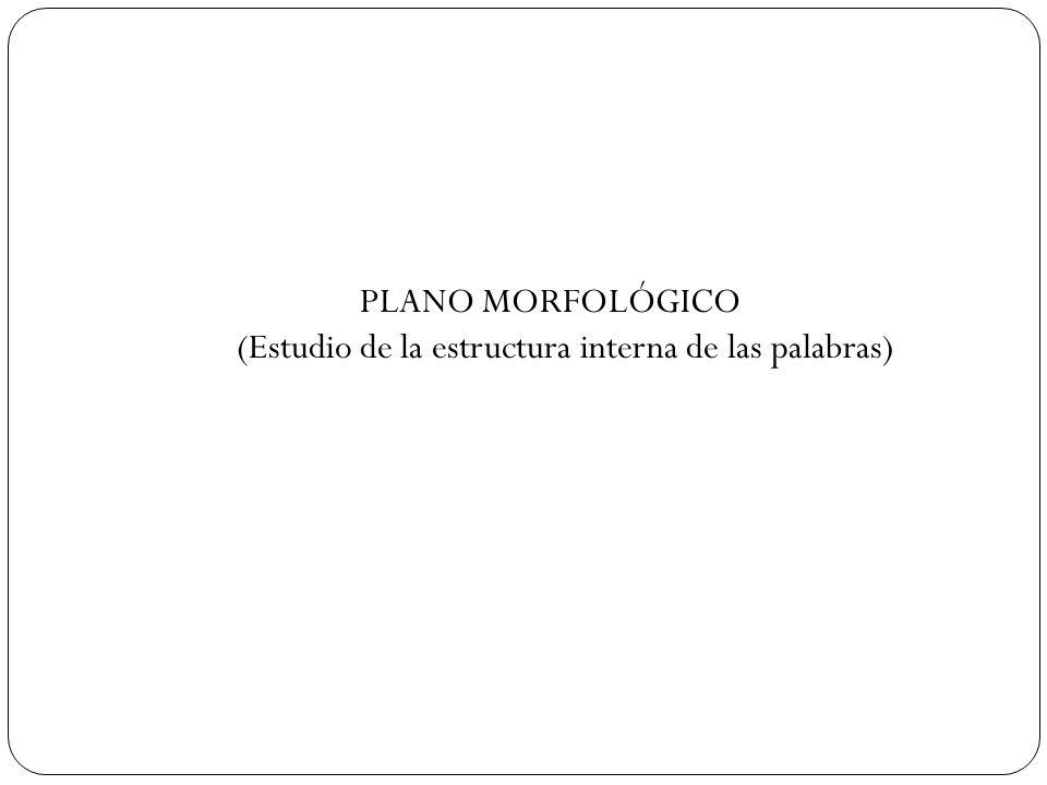 PLANO MORFOLÓGICO (Estudio de la estructura interna de las palabras)