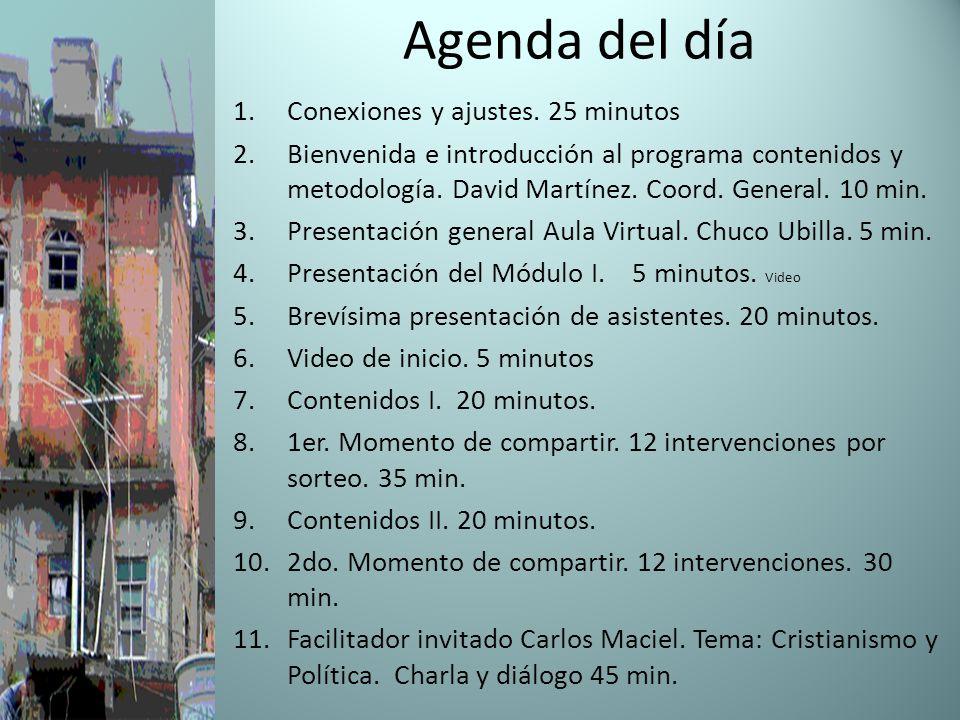 Agenda del día Conexiones y ajustes. 25 minutos