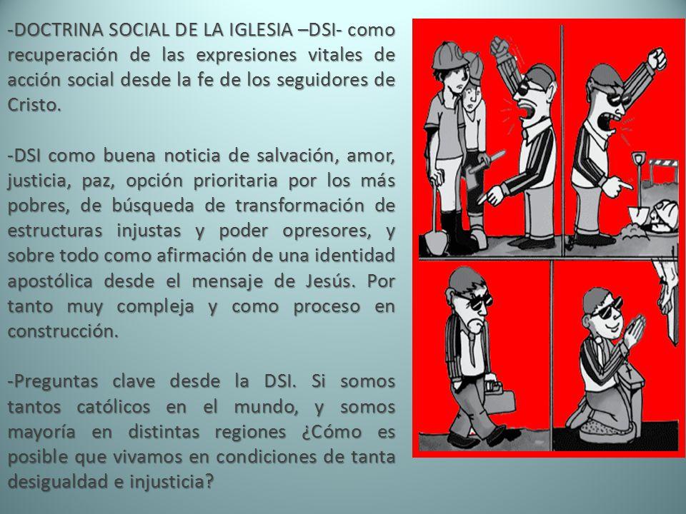 DOCTRINA SOCIAL DE LA IGLESIA –DSI- como recuperación de las expresiones vitales de acción social desde la fe de los seguidores de Cristo.