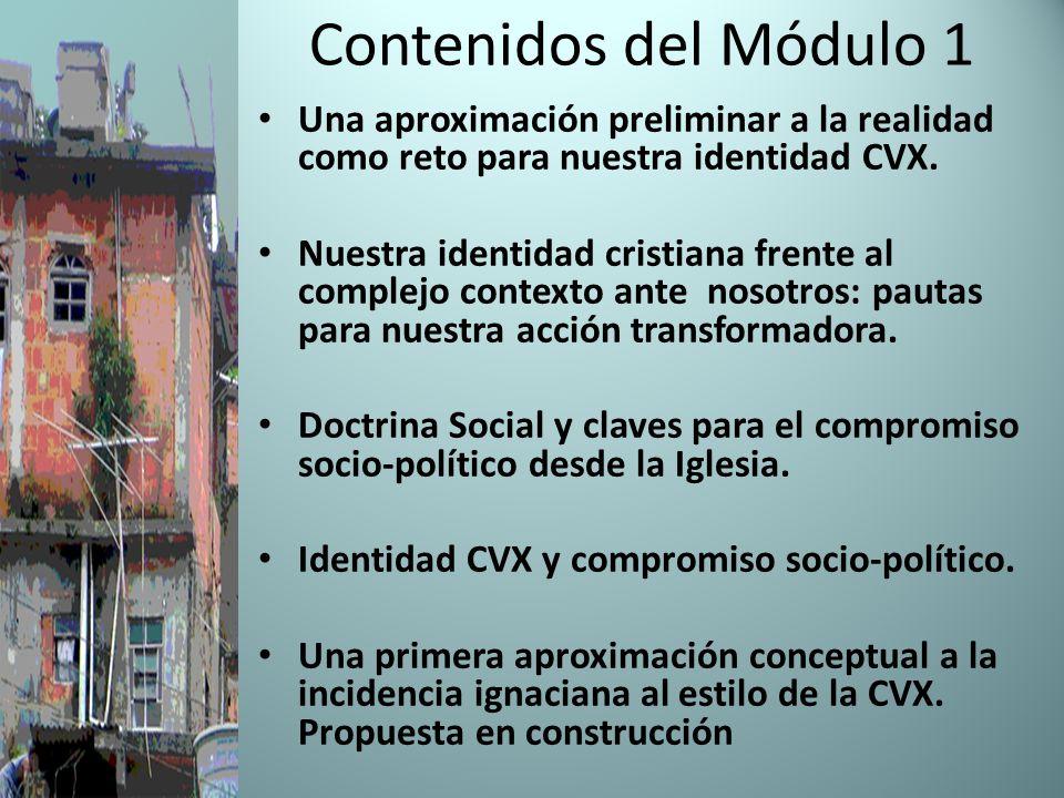 Contenidos del Módulo 1 Una aproximación preliminar a la realidad como reto para nuestra identidad CVX.