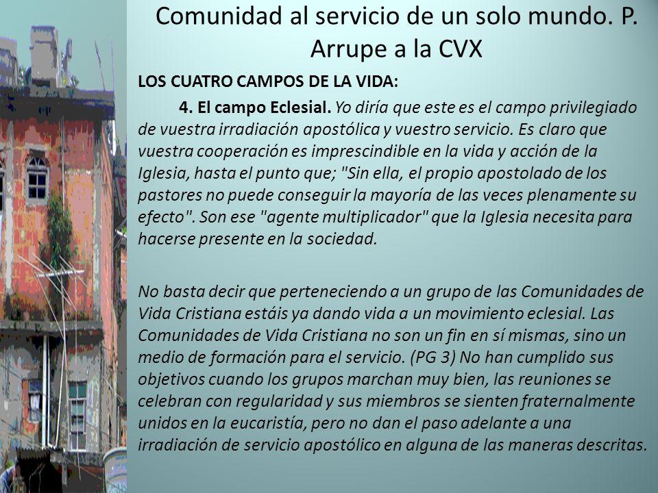 Comunidad al servicio de un solo mundo. P. Arrupe a la CVX