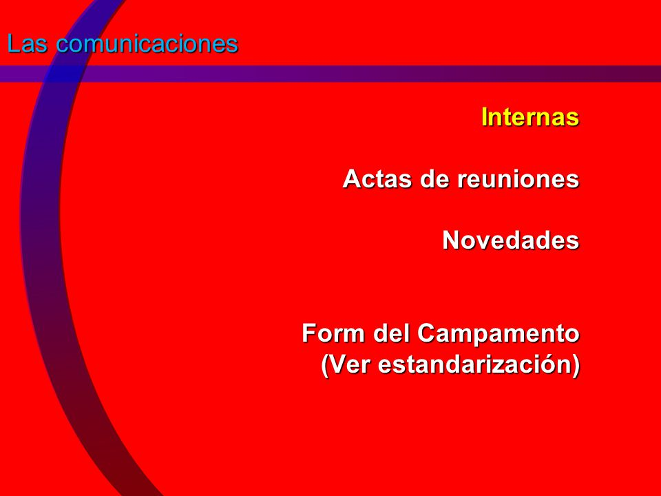 Las comunicaciones Internas Actas de reuniones Novedades Form del Campamento (Ver estandarización)