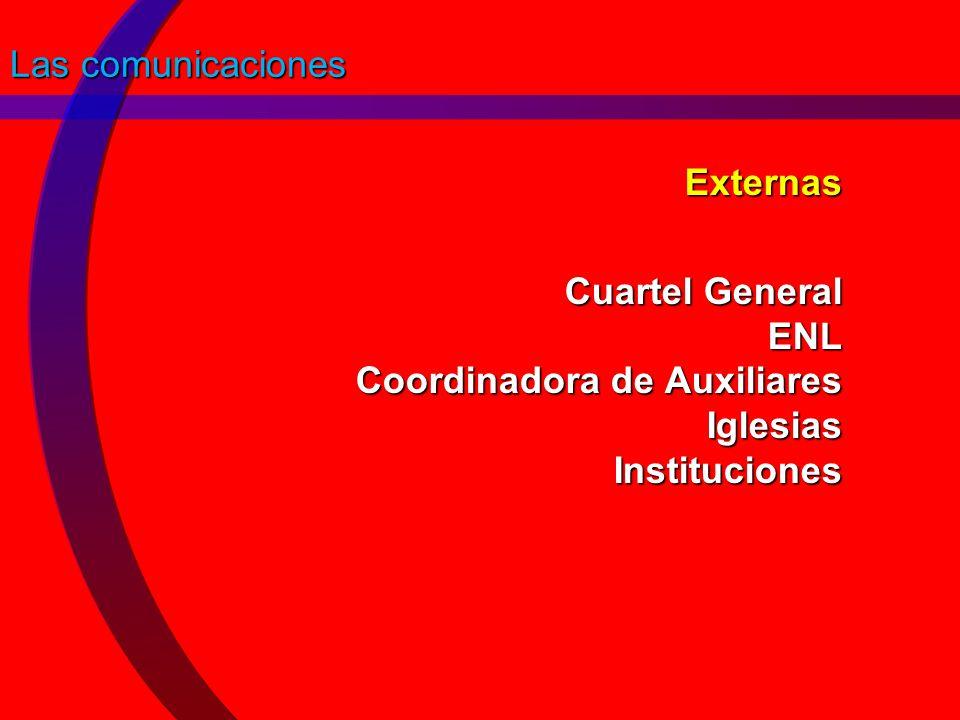 Las comunicaciones Externas Cuartel General ENL Coordinadora de Auxiliares Iglesias Instituciones