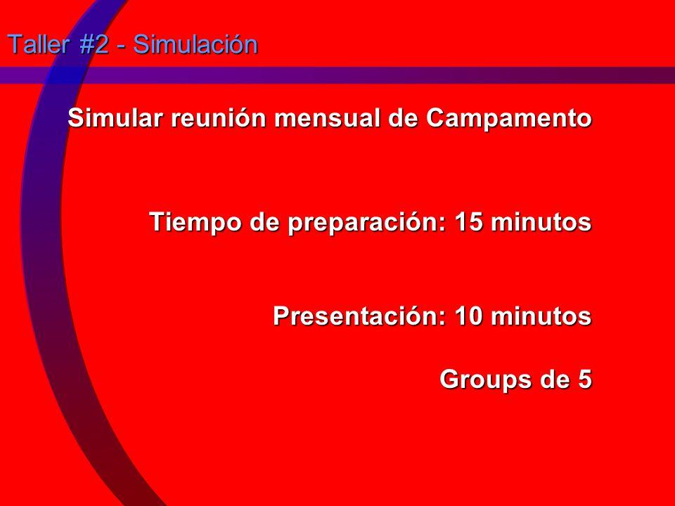 Taller #2 - Simulación Simular reunión mensual de Campamento Tiempo de preparación: 15 minutos Presentación: 10 minutos Groups de 5.