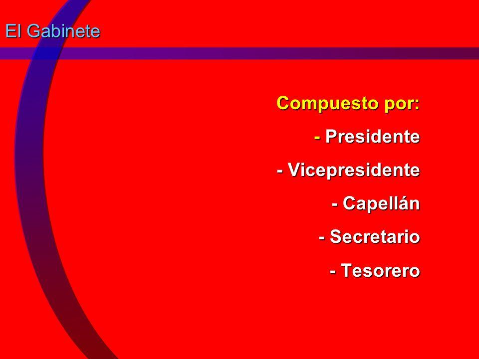 El Gabinete Compuesto por: - Presidente - Vicepresidente - Capellán - Secretario - Tesorero
