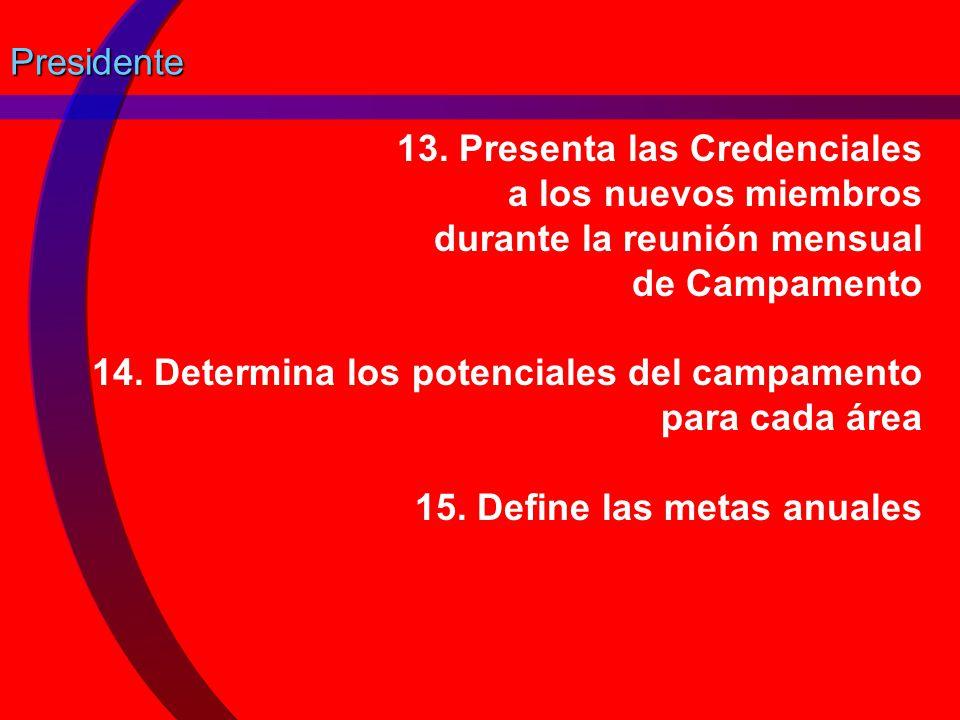 Presidente 13. Presenta las Credenciales a los nuevos miembros durante la reunión mensual de Campamento.