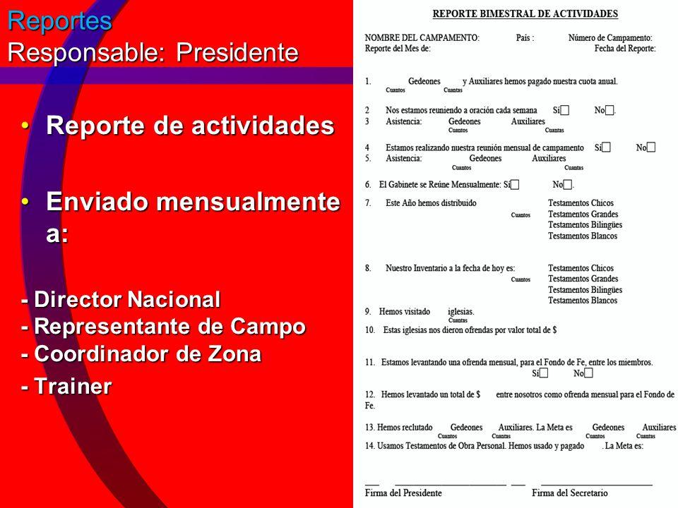 Reportes Responsable: Presidente