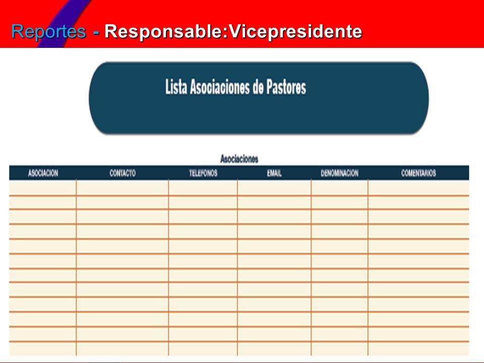 Reportes - Responsable:Vicepresidente