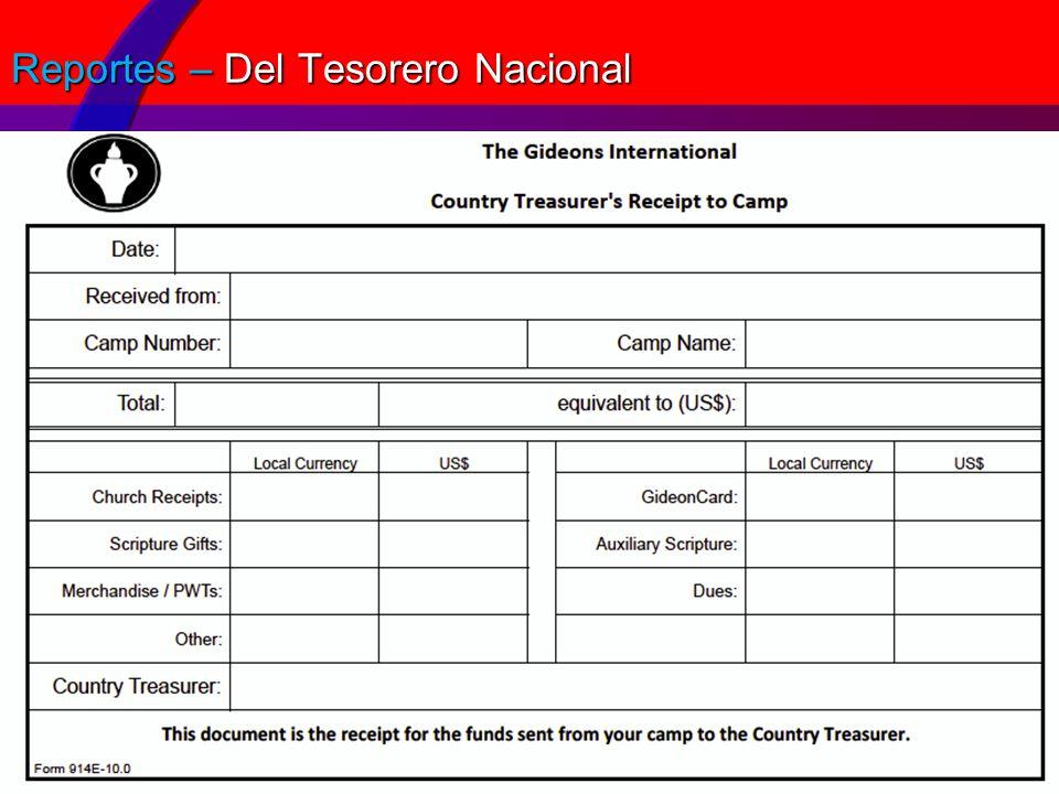 Reportes – Del Tesorero Nacional