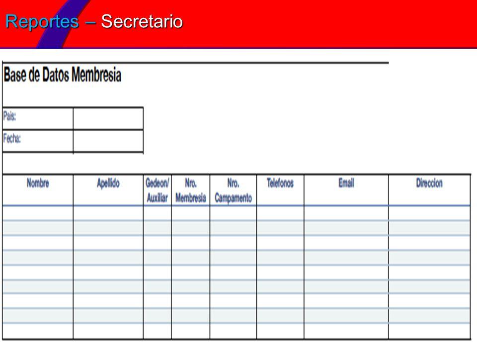 Reportes – Secretario