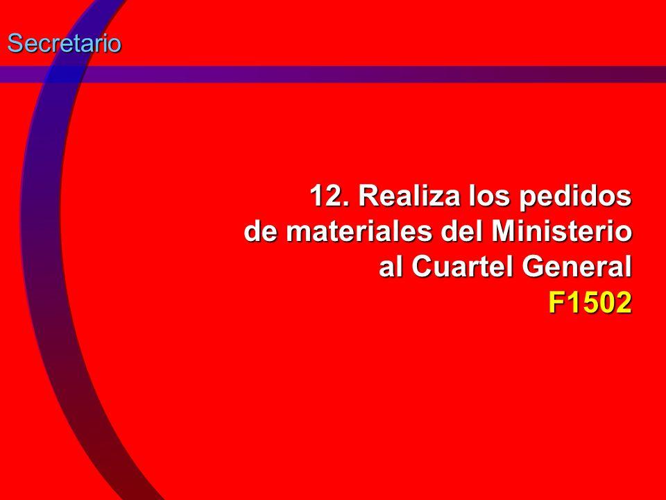 Secretario 12. Realiza los pedidos de materiales del Ministerio al Cuartel General F1502