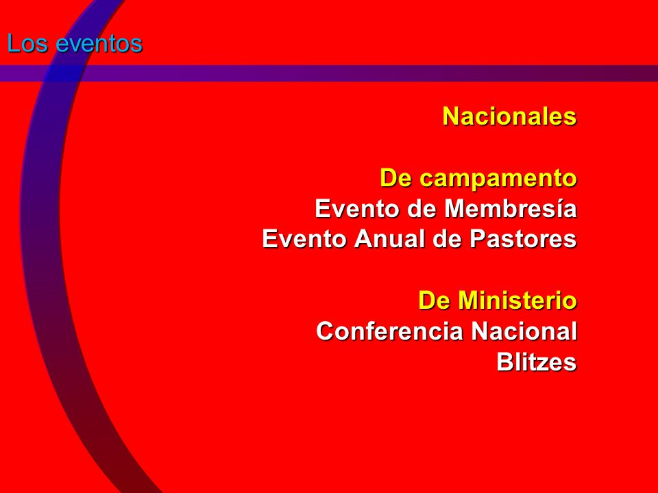 Los eventos Nacionales De campamento Evento de Membresía Evento Anual de Pastores De Ministerio Conferencia Nacional Blitzes.