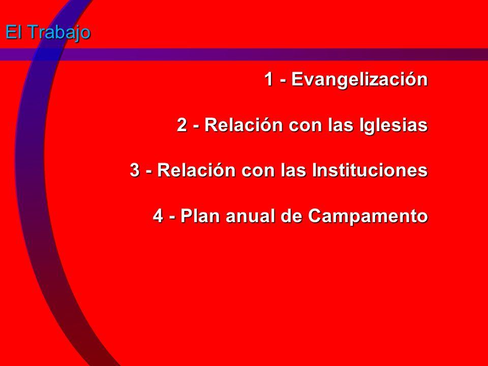 El Trabajo 1 - Evangelización 2 - Relación con las Iglesias 3 - Relación con las Instituciones 4 - Plan anual de Campamento.