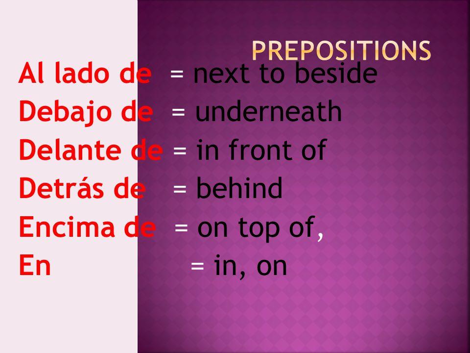 Al lado de = next to beside Debajo de = underneath