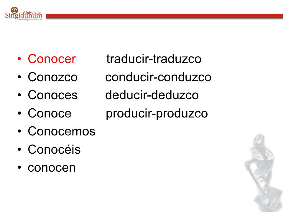 Conocer traducir-traduzco